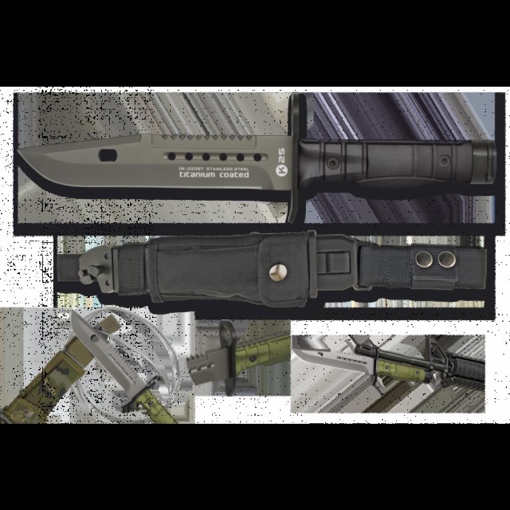 Couteau poignard baïonnette noir K25 lame 17.8 cm
