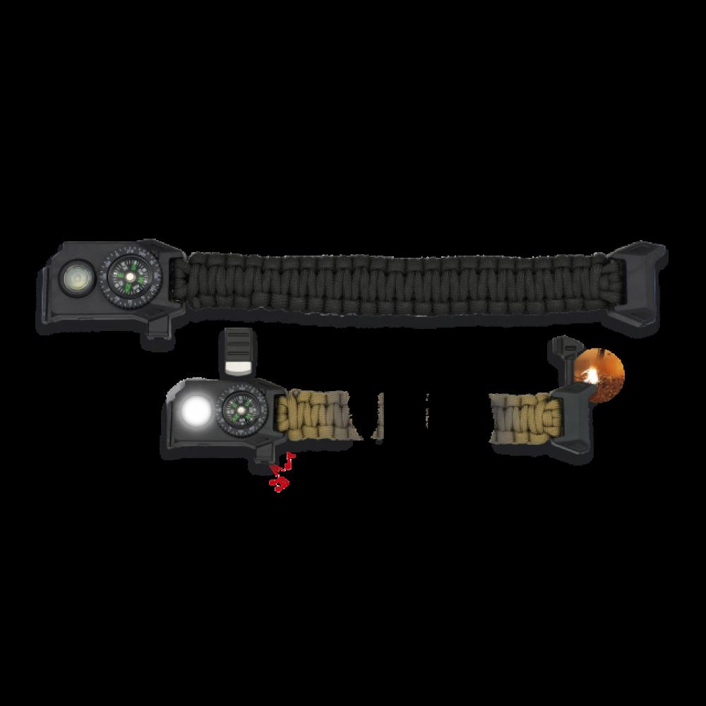 Bracelet paracorde avec led noir