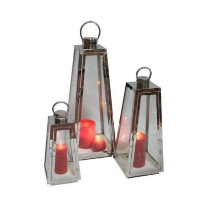 CAO Lot de 3 lanternes d'ambiance inox