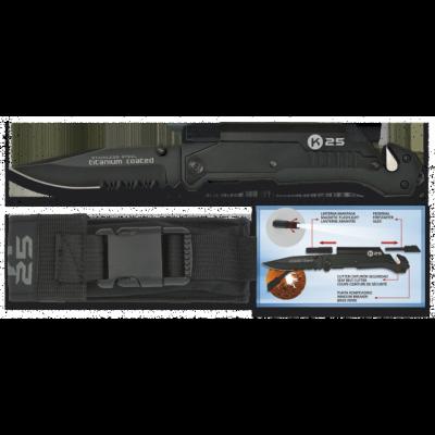Couteau pliable K25 avec lampe intégrée lame 9 cm