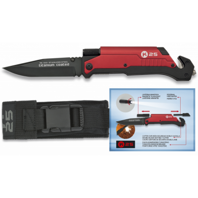 Couteau pliable rouge K25 avec lampe intégrée lame 9 cm