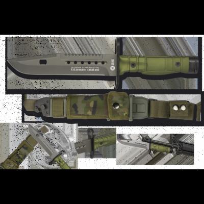Couteau poignard baïonnette vert camouflage K25 lame 17.8 cm
