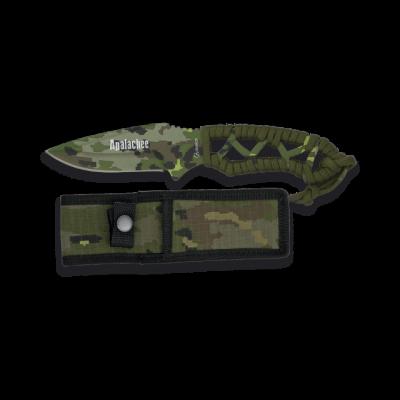 Couteau de survie vert paracorde lame 8.3 cm