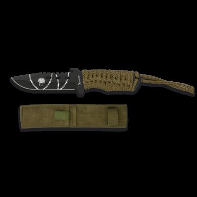 Couteau paracorde vert lame 9 cm