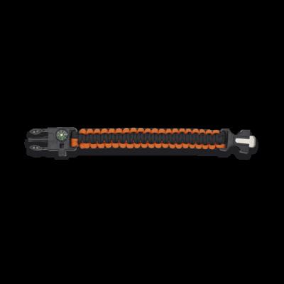 Bracelet paracorde 3 m orange avec boussole et sifflet