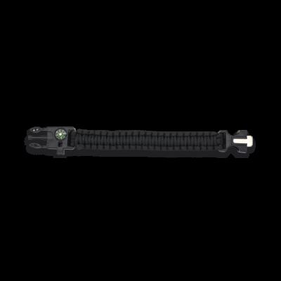 Bracelet paracorde 3 m noir avec boussole et sifflet