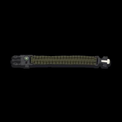 Bracelet paracorde 3 m vert avec boussole et sifflet