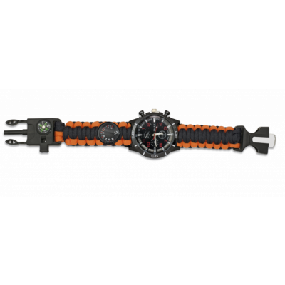 Montre paracorde tactique de survie orange