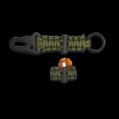 Porte-clés paracorde silex vert