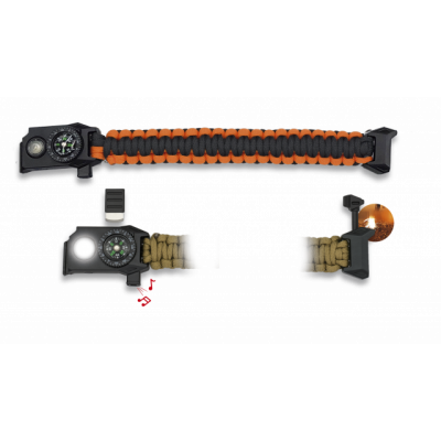 Bracelet paracorde avec led orange