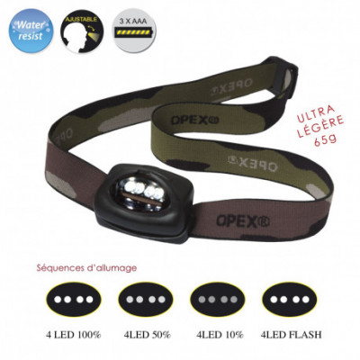 Lampe frontale army 4 cree led
